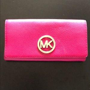Michael kors pink leather wallet